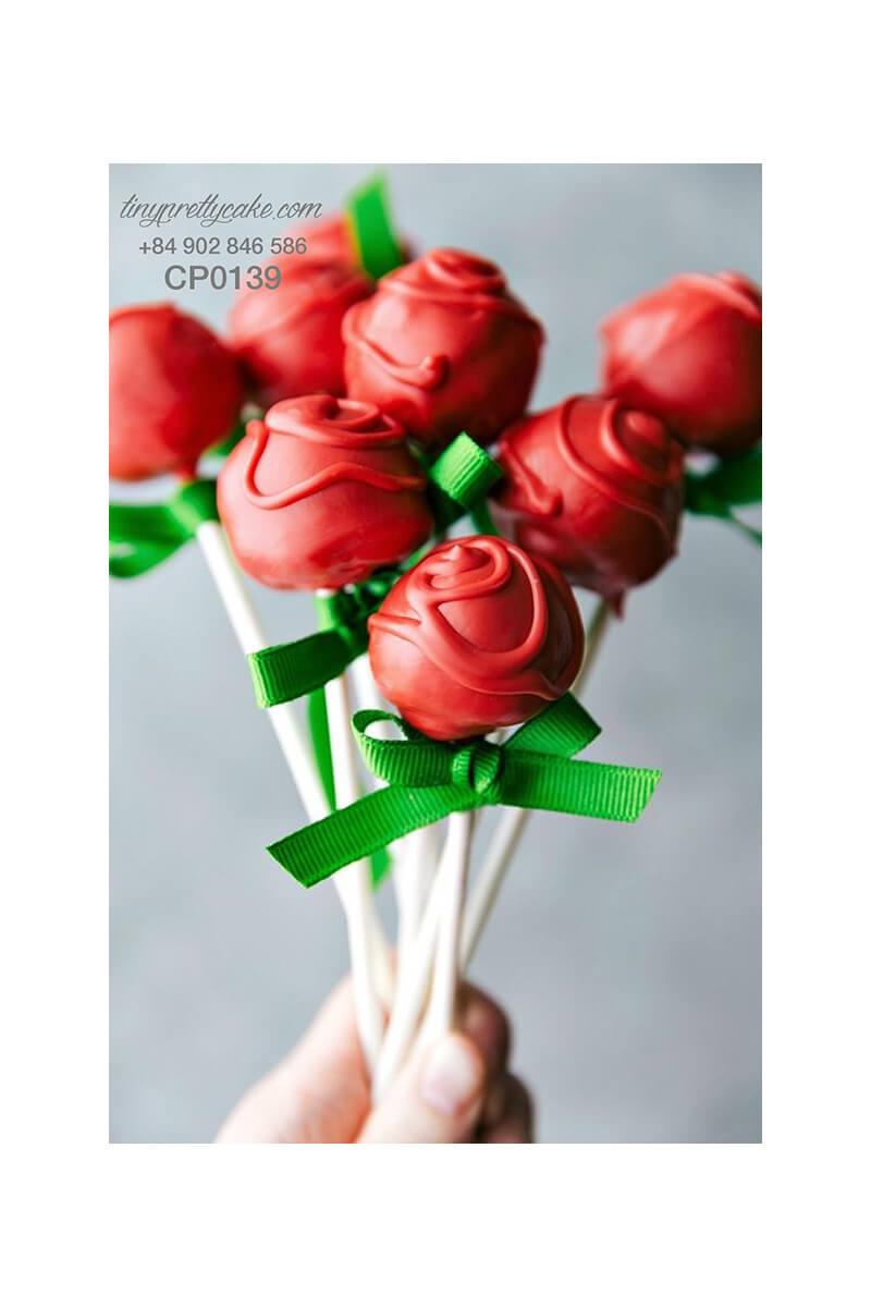 cake pop hoa hồng đỏ