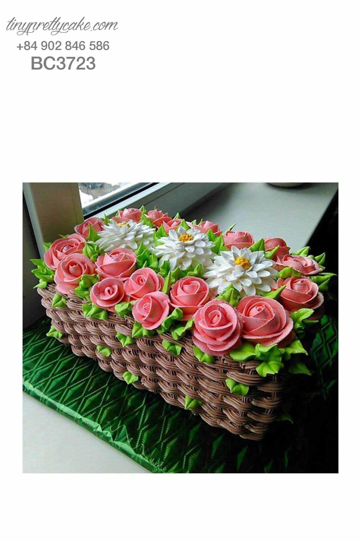 bánh sinh nhật giỏ hoa hồng 3d dễ thương