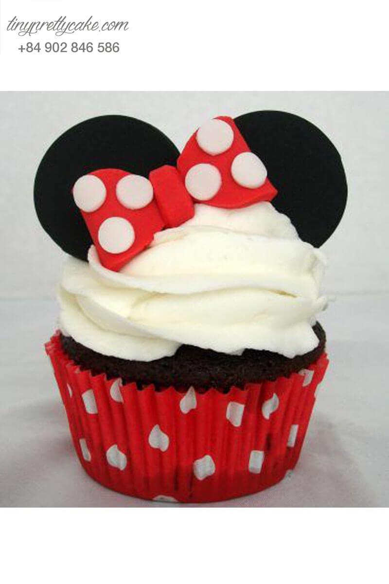 Bánh Cupcake chuột Mickey đeo nơ cho sinh nhật các bé gái
