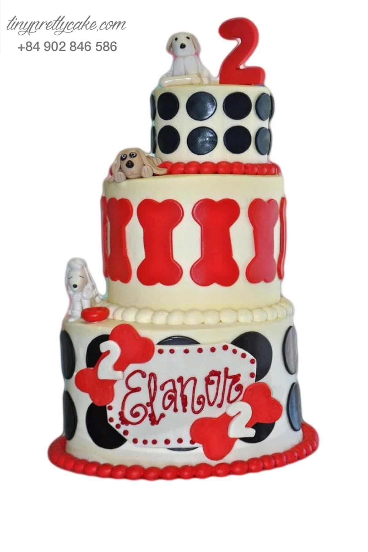 bánh sinh nhật 3 tầng biệt đội thú cưng