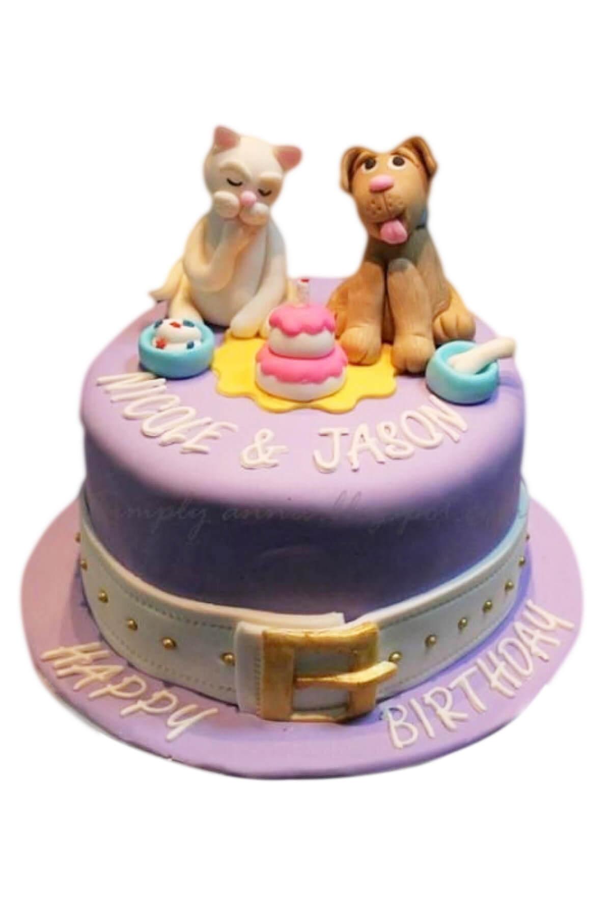 bánh sinh nhật hình Chó Mèo