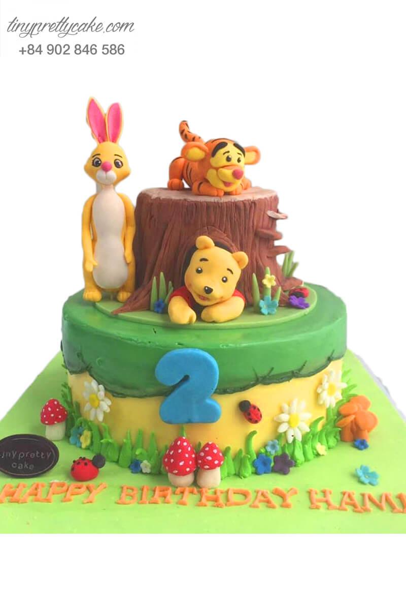 bánh sinh nhật hai tầng gấu Pooh