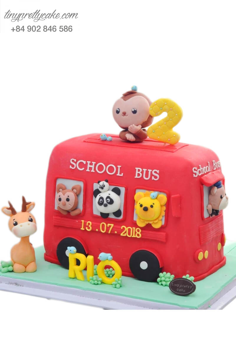Bánh fondant chiếc xe bus