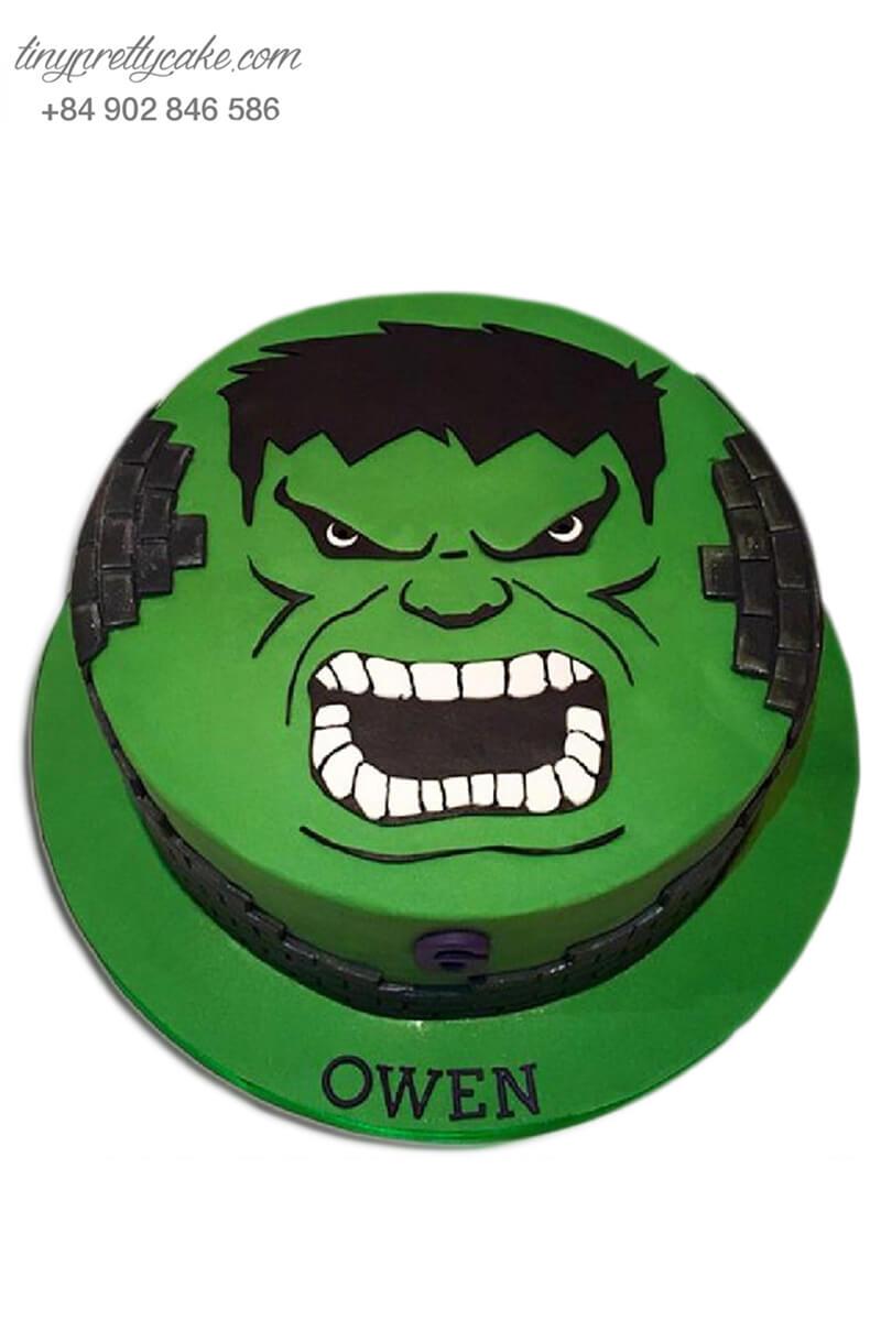 bánh sinh nhật hình người khổng lồ xanh Hulk