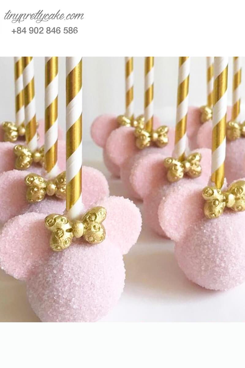 Cake pop chuột Mickey hồng nữ tính