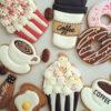 Set 8 Cookie chiếc bánh ngọt và Coffee dễ thương - mừng sinh nhật ngộ nghĩnh