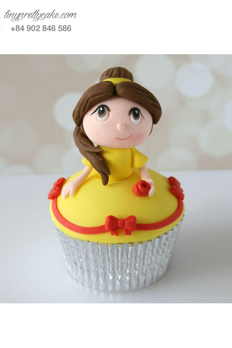 Bánh Cupcake công chúa Belle siêu đáng yêu tặng sinh nhật các bé