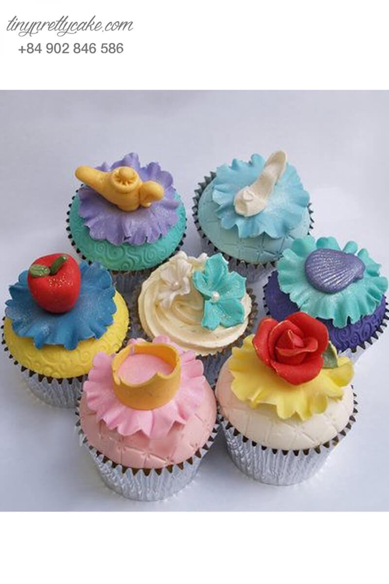 Set 7 Cupcake các đồ vật cổ tích mừng sinh nhật các bé gái