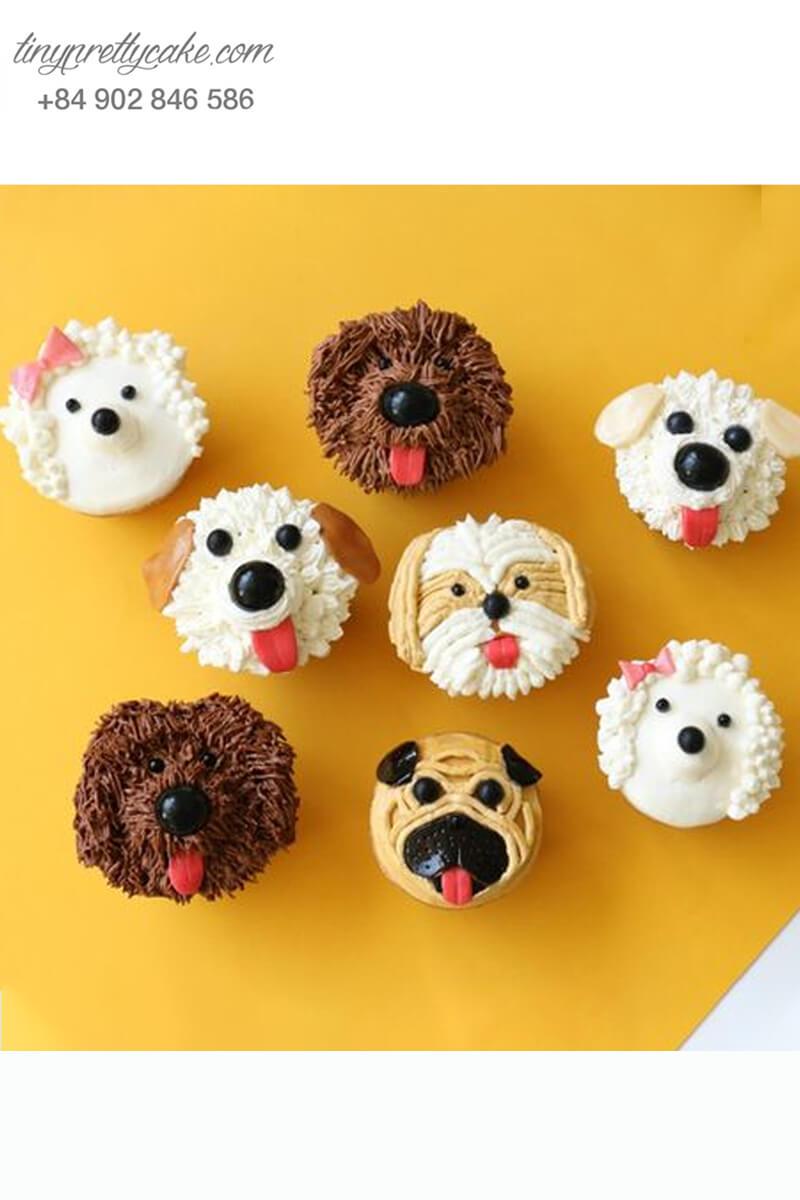 Set 8 cupcake gia đình chú chó mừng sinh nhật, thôi nôi các bé
