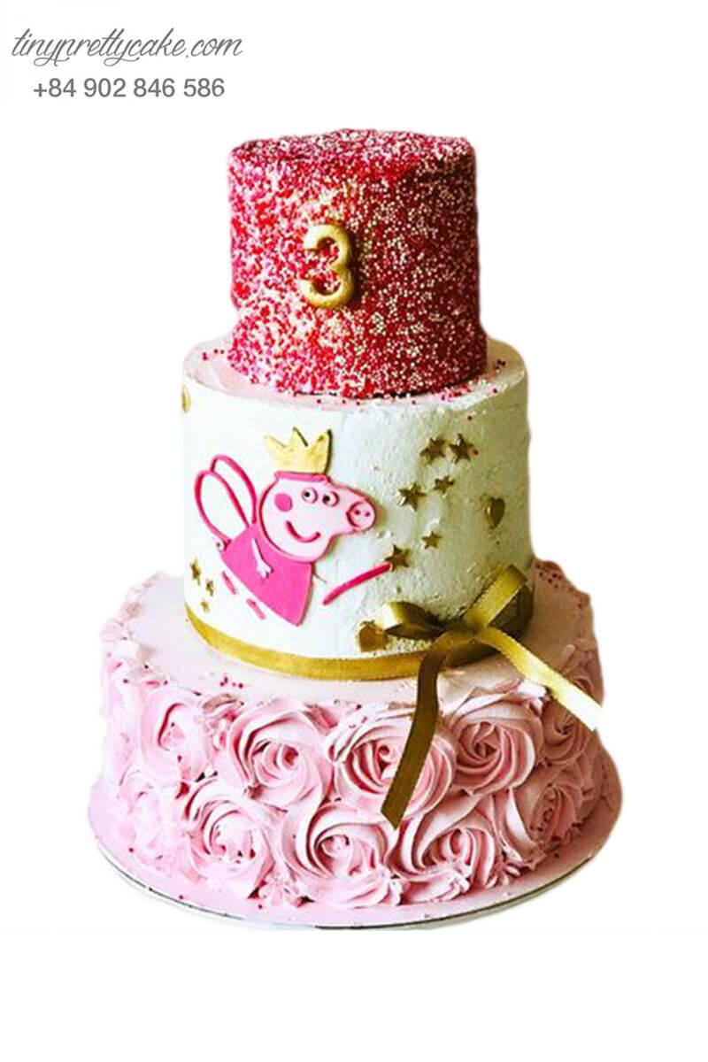 bánh sinh nhật 3 tầng Peppa Pig
