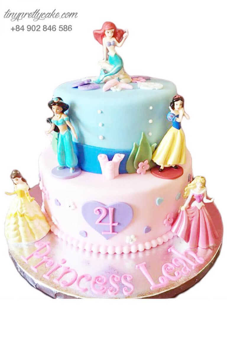 bánh kem 2 tầng công chúa Disney