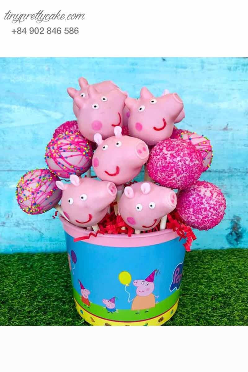 Bánh cakepop hình heo Peppa đáng yêu
