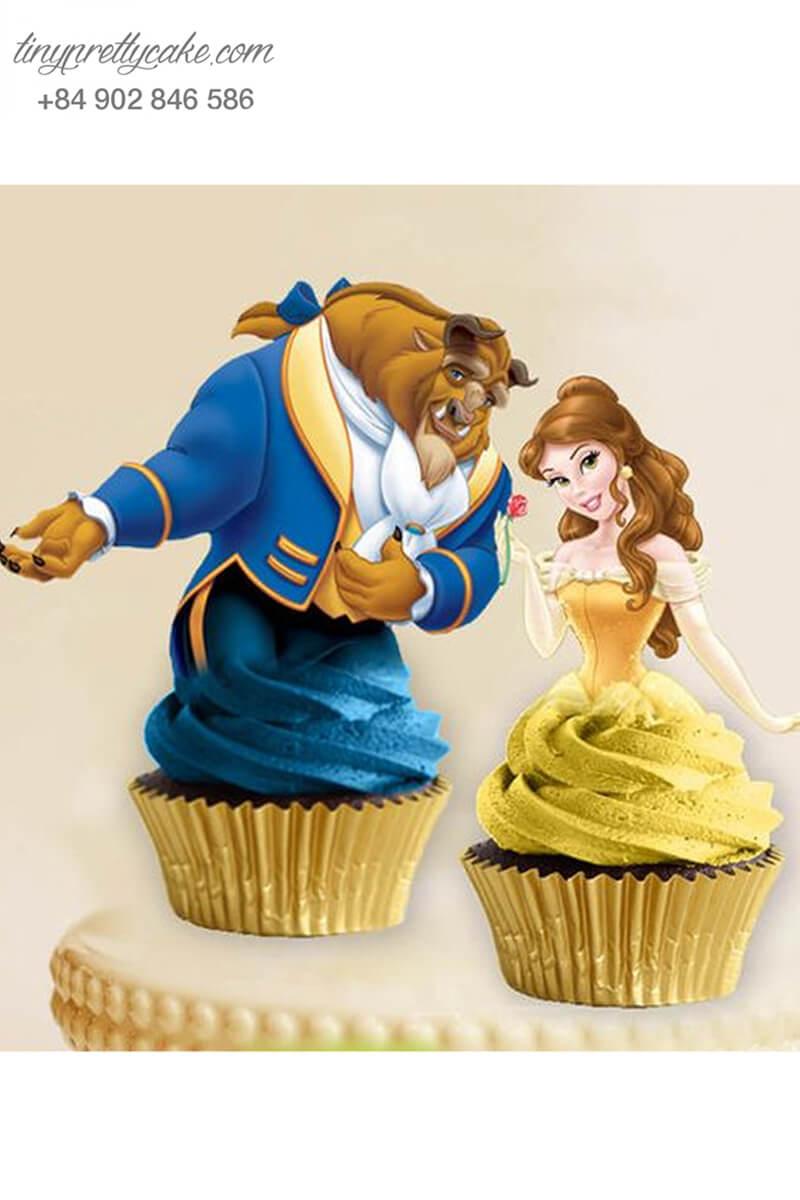 Set 2 bánh cupcake Người đẹp và Quái vật thơm ngon mừng sinh nhật các bé gái