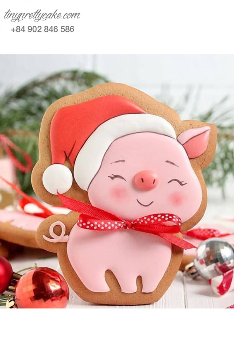 Bánh cookie Noel heo hồng
