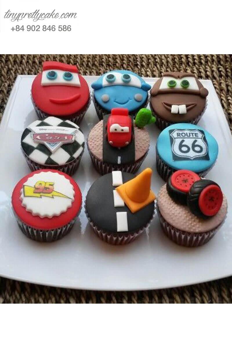 Set 9 Cupcake ô tô đẹp mắt mừng sinh nhật các bé trai