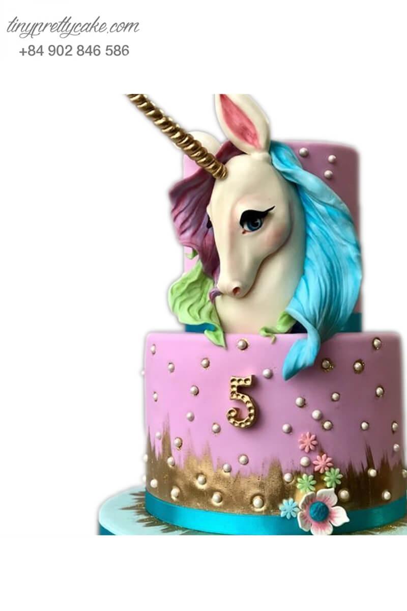 bánh kem 2 tầng Unicorn màu tím