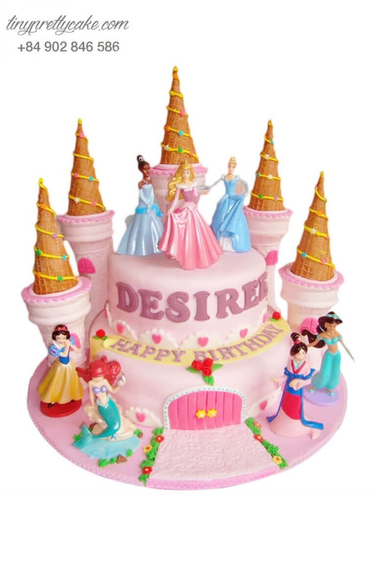 Bánh gato 2 tầng tạo hình lâu đài công chúa