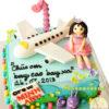 bánh sinh nhật hình máy bay cho bé gái
