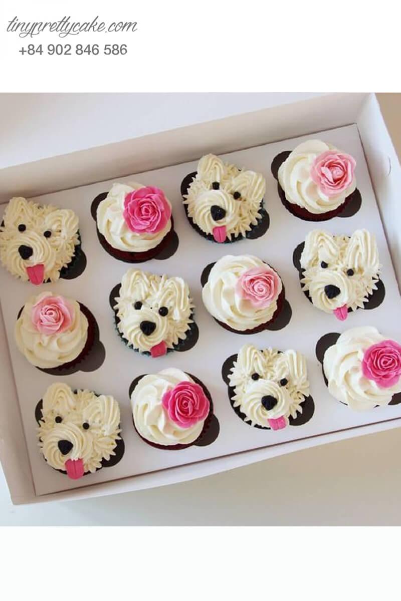 Set 12 cupcake cô nàng chó điệu đà mừng sinh nhật, thôi nôi các bé gái