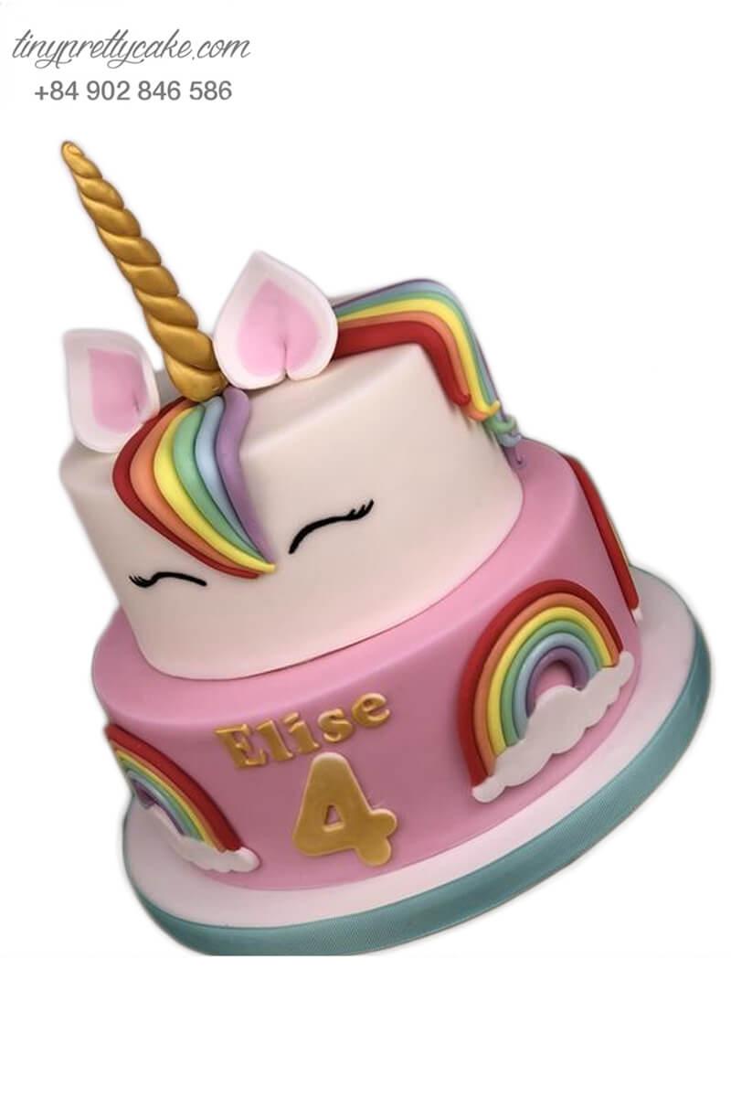 bánh kem 2 tầng Unicorn cầu vồng
