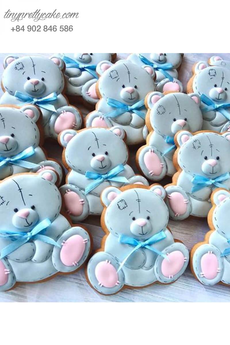 Cookie gấu xanh pastel cực lạ và đáng yêu mừng sinh nhật cho bé trai, bé gái