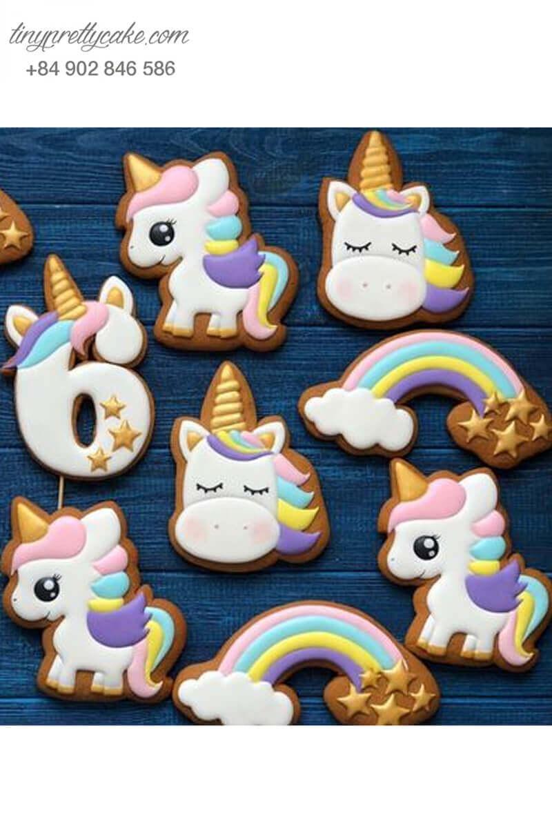 bánh cookie Unicorn cầu vồng đáng yêu
