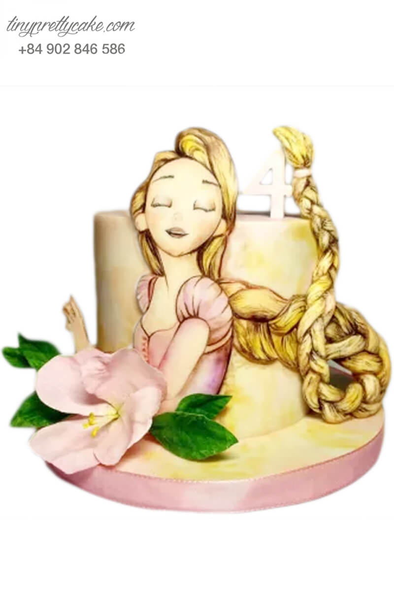 Bánh sinh nhật tạo hình công chúa tóc dài siêu xinh đẹp cho bé gái (BC3696)