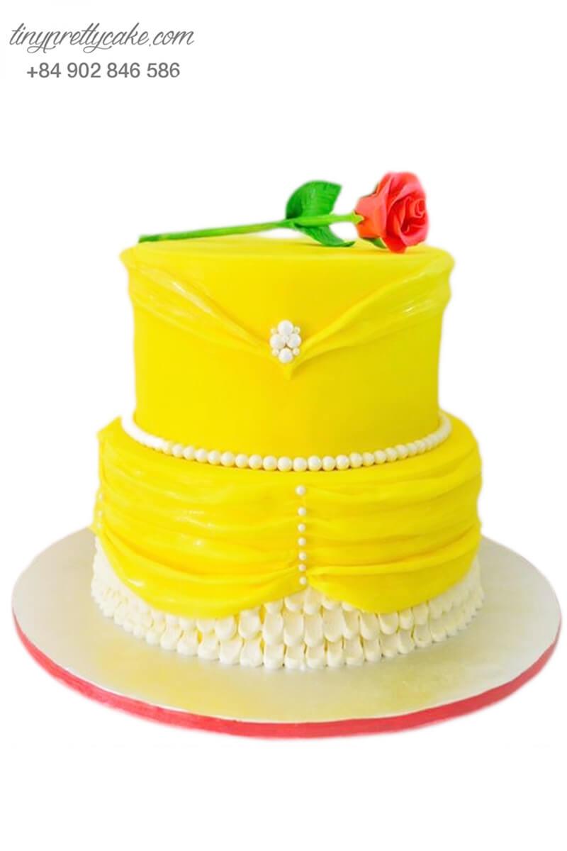 bánh kem 2 tầng váy người đẹp Belle