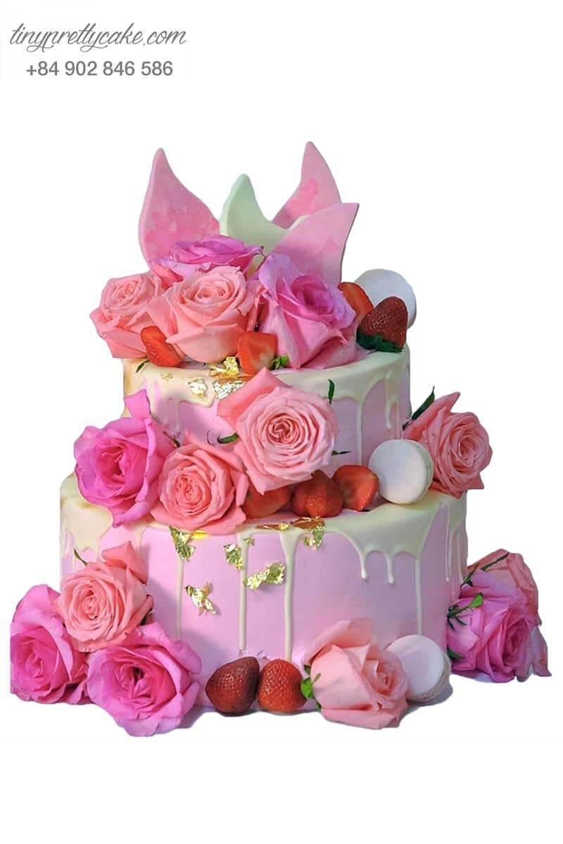 bánh sinh nhật màu hồng