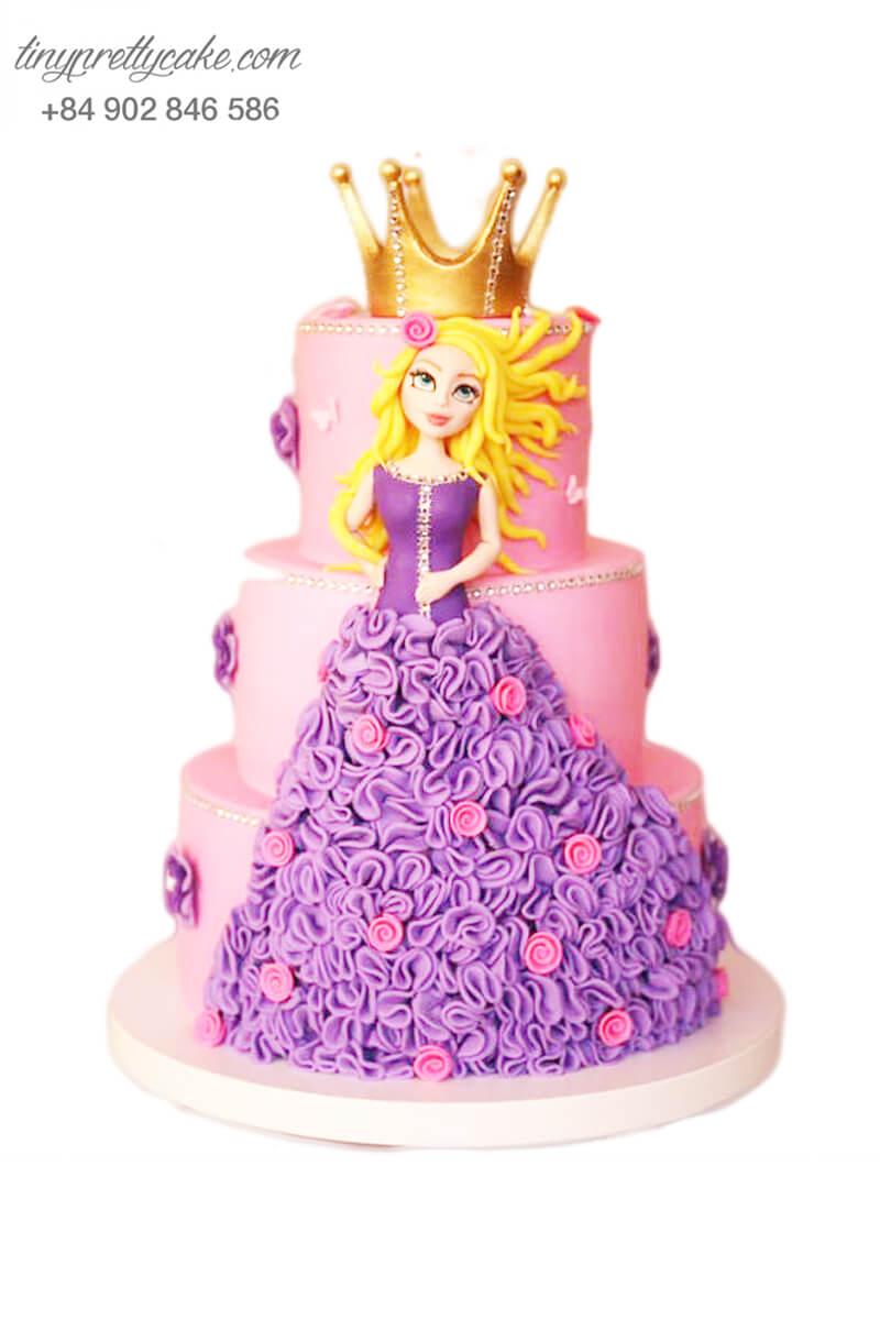 bánh kem 3 tầng công chúa ấn tượng