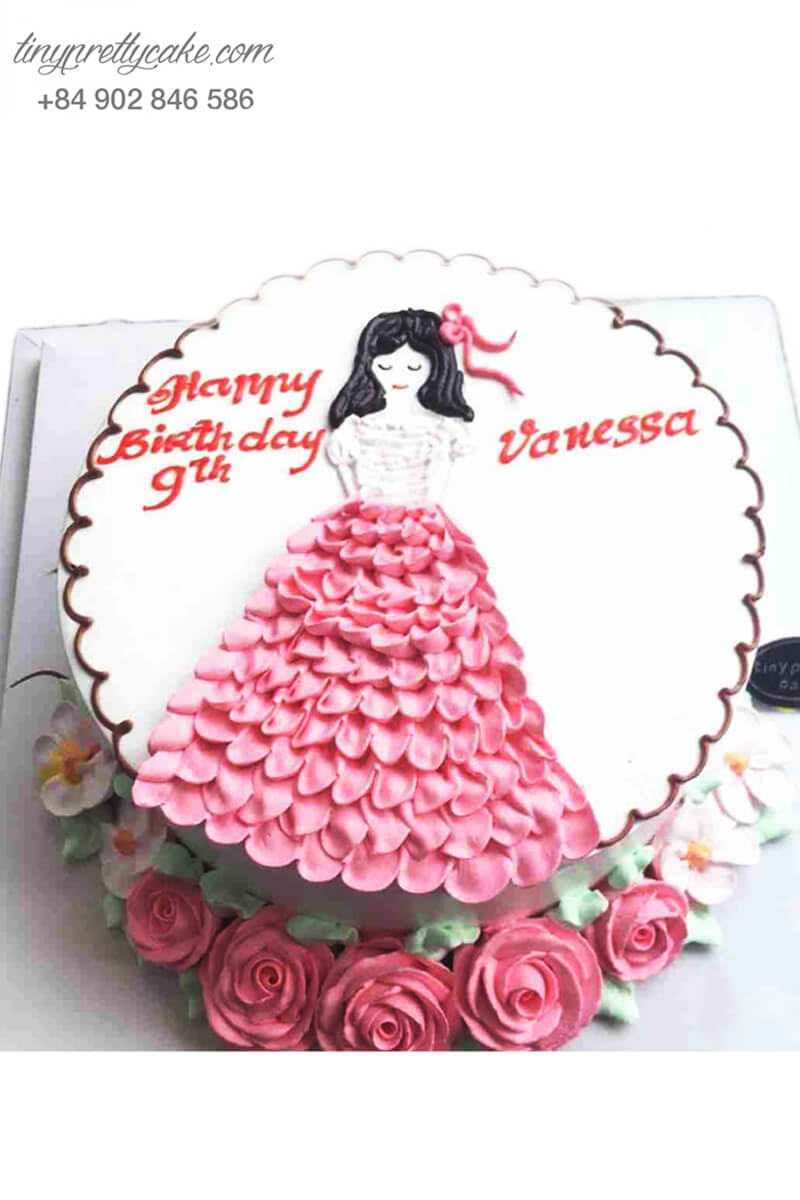 bánh sinh nhật cô gái váy hoa