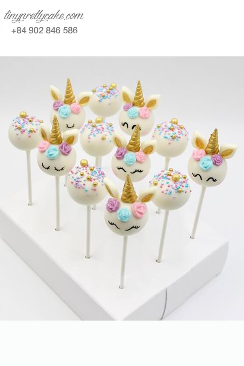 Set 12 bánh cakepop hình ngựa Pony Unicorn sắc màu dễ thương dành tặng bé gái nhân dịp sinh nhật