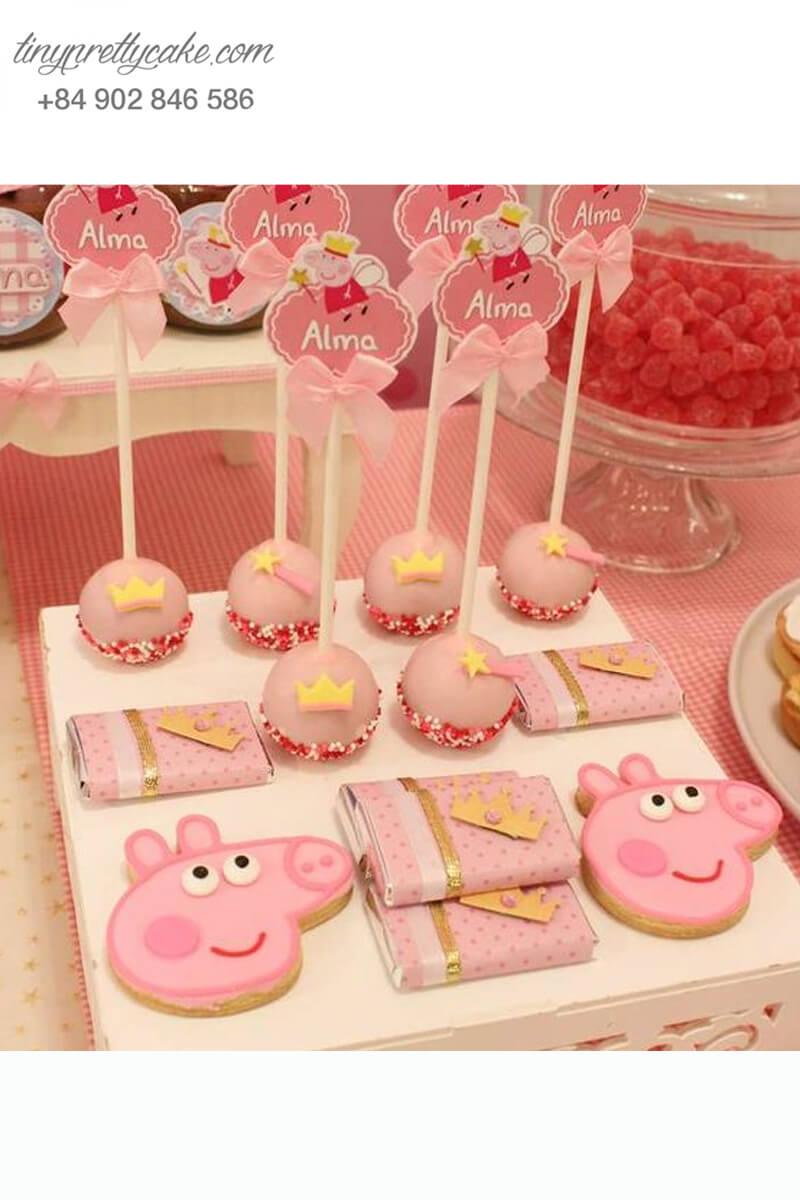 cake pop hình vương miện cho bé gái