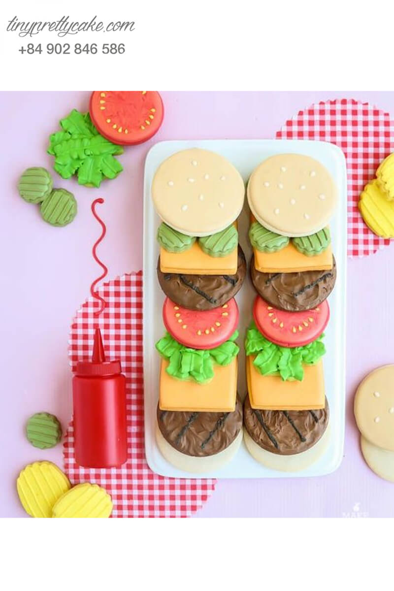 Cookie hình bánh Hamburger đẹp mắt - mừng sinh nhật mẹ, người yêu