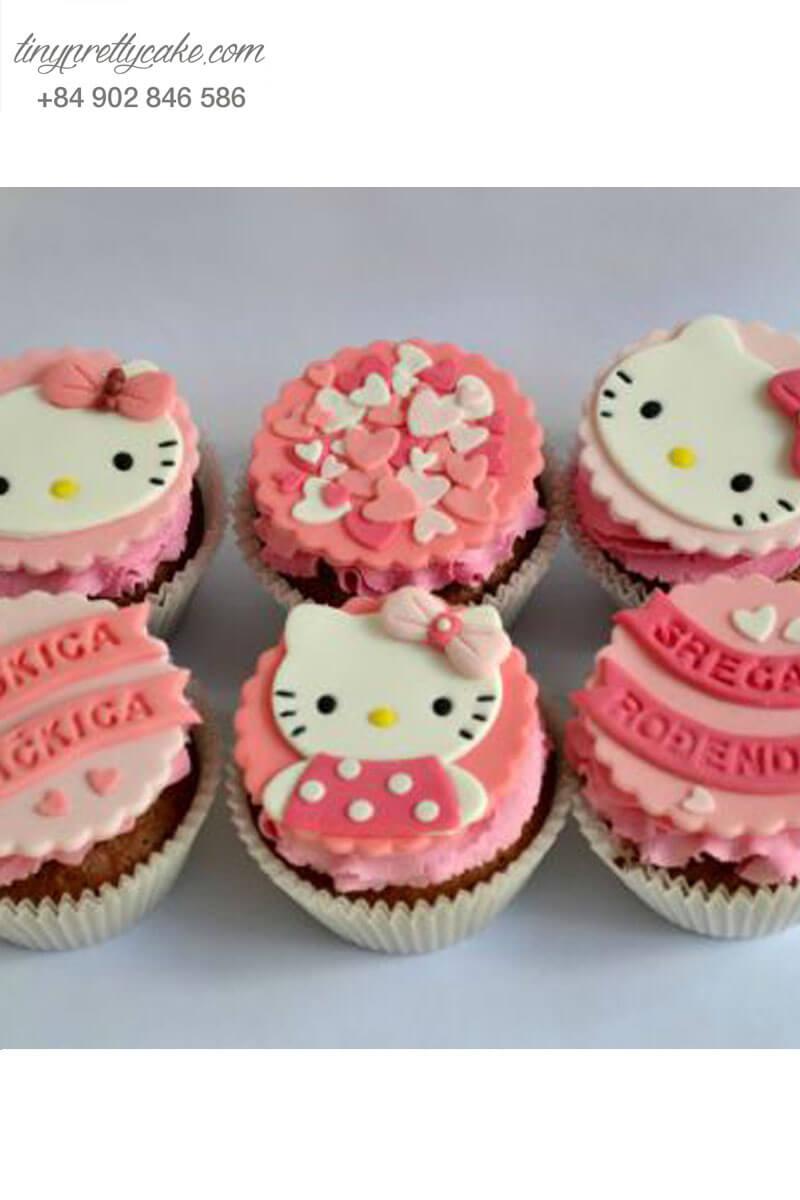 Set 9 cupcake Hello Kitty màu sắc mừng sinh nhật các bé gái