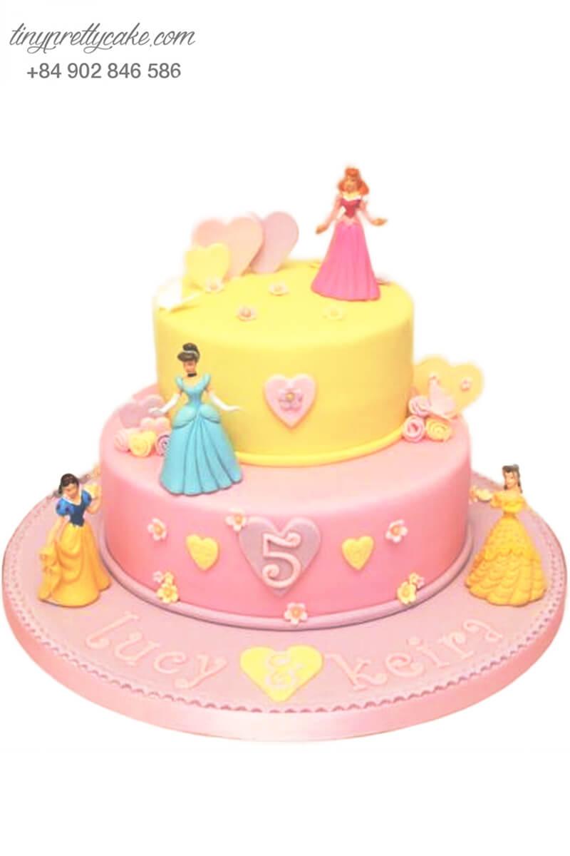 Bánh sinh nhật hai tầng tạo hình công chúa DISNEY siêu dễ thương cho bé gái (BF1153) - Tiny Pretty Cake