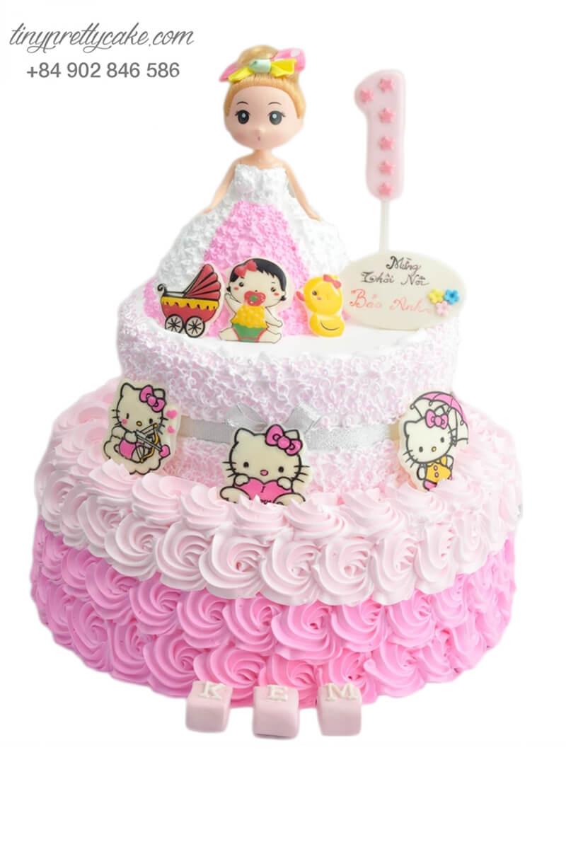 bánh sinh nhật 2 tầng búp bê