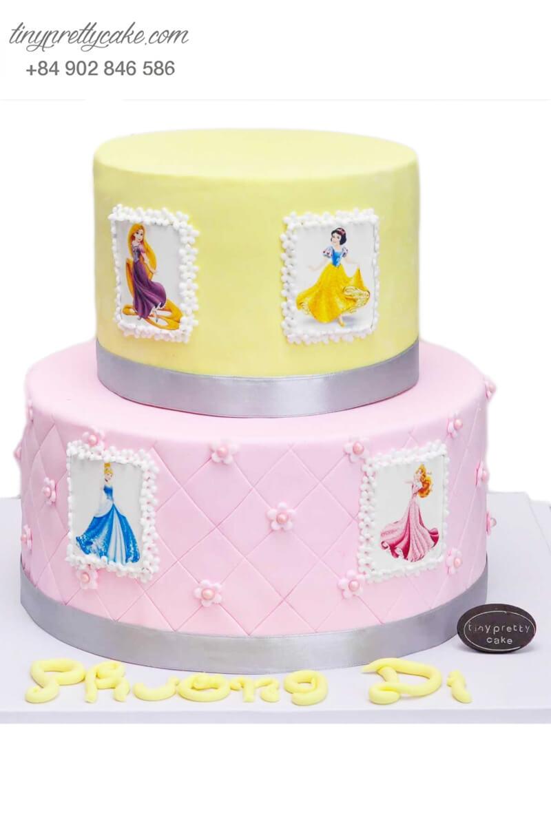 Bánh sinh nhật 2 t ầng tạo hình công chúa Disney cực xinh cho bé gái (BF0789)
