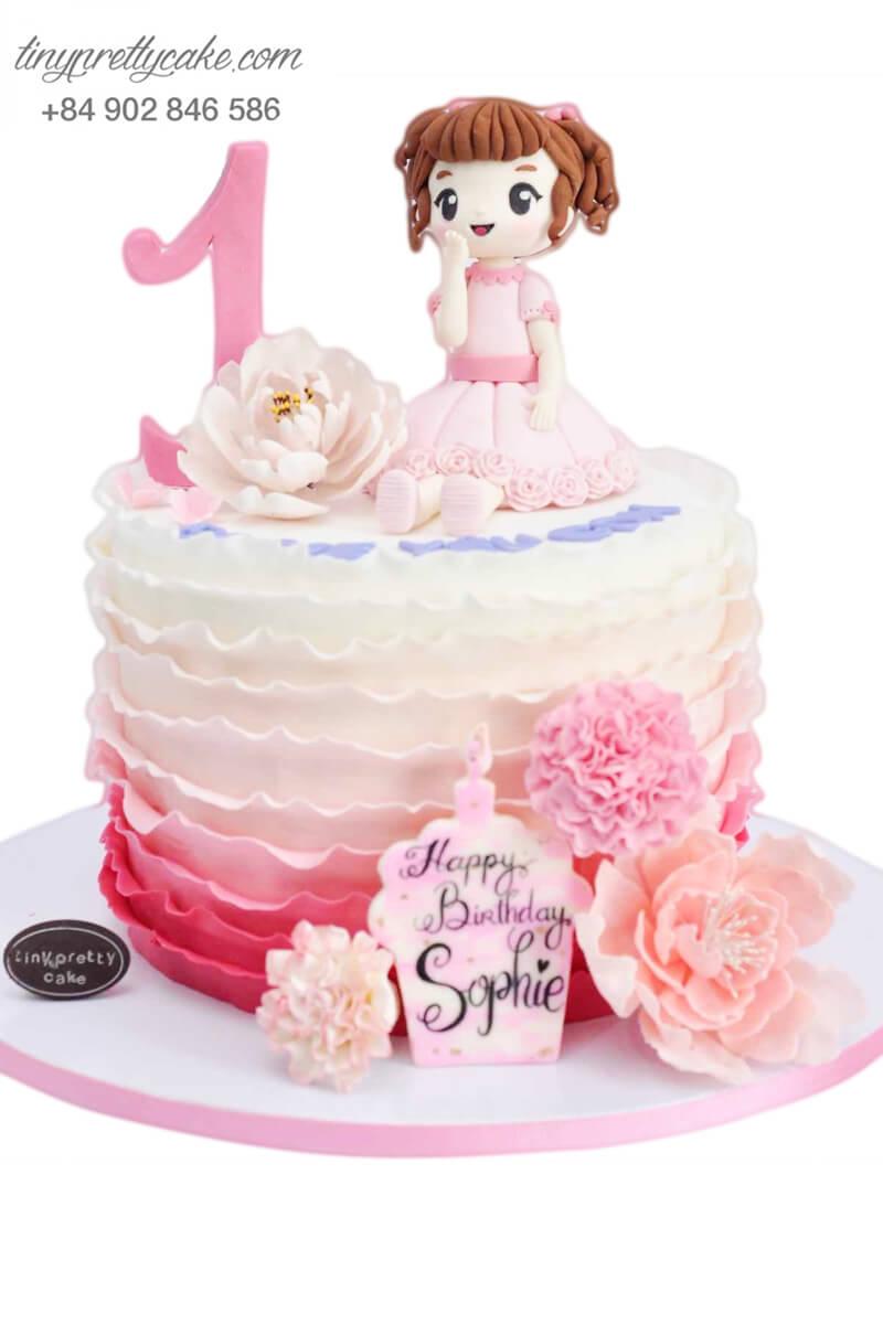 Bánh sinh nhật cho bé gái màu hồng