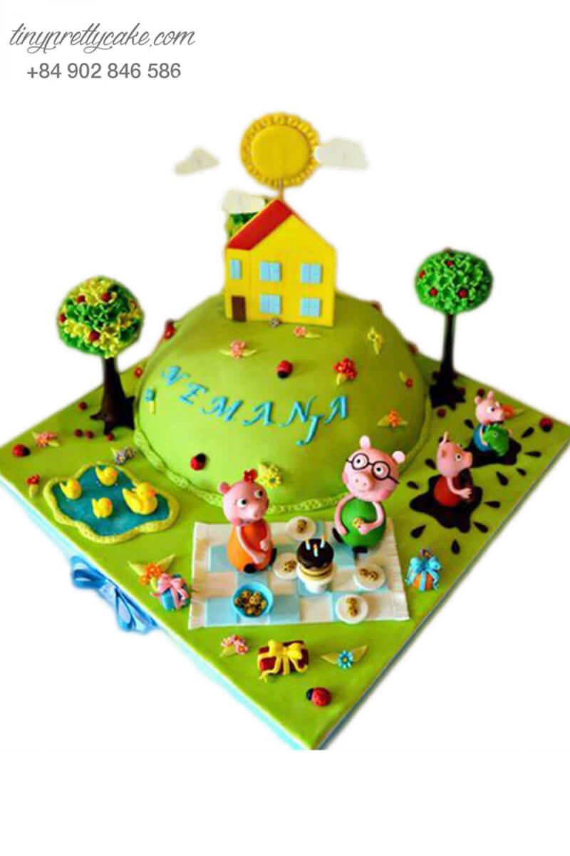 bánh sinh nhật gia đình heo Peppa và khu vườn