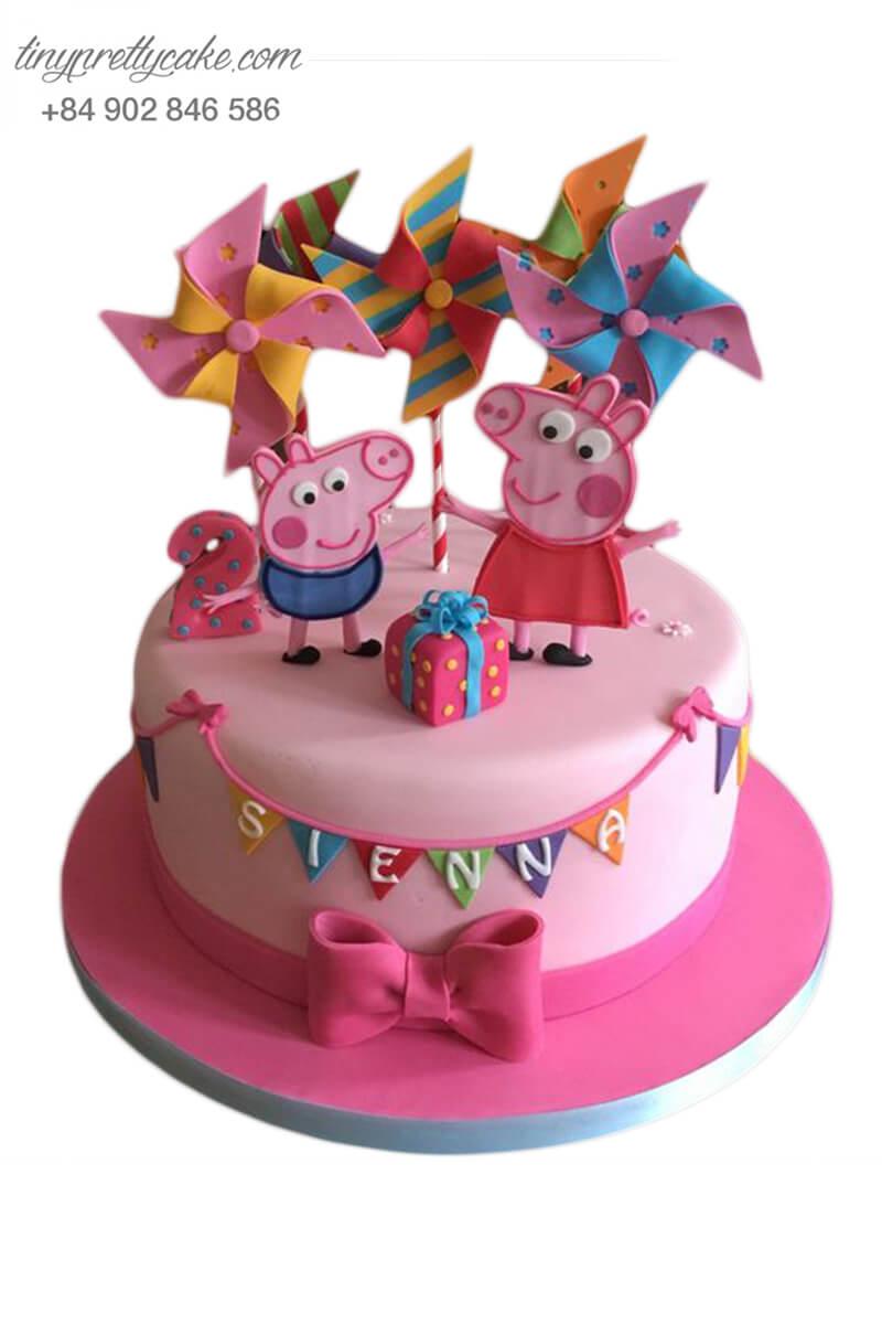 bánh sinh nhật vẽ hoạt hình heo Peppa