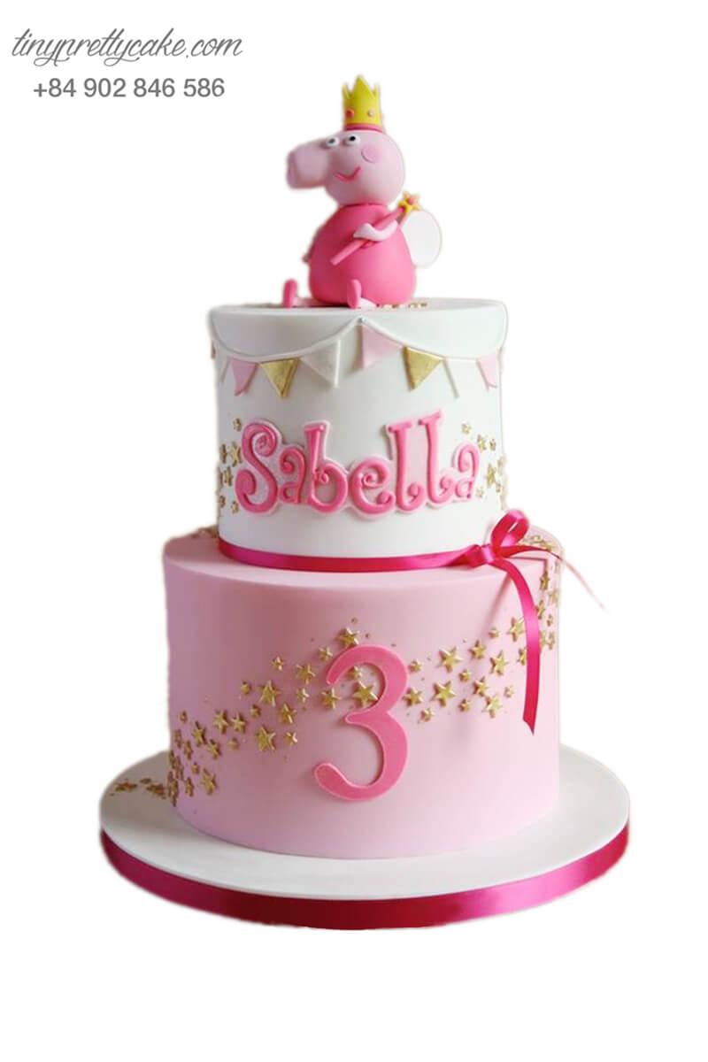 bánh sinh nhật 2 tầng Peppa Pig
