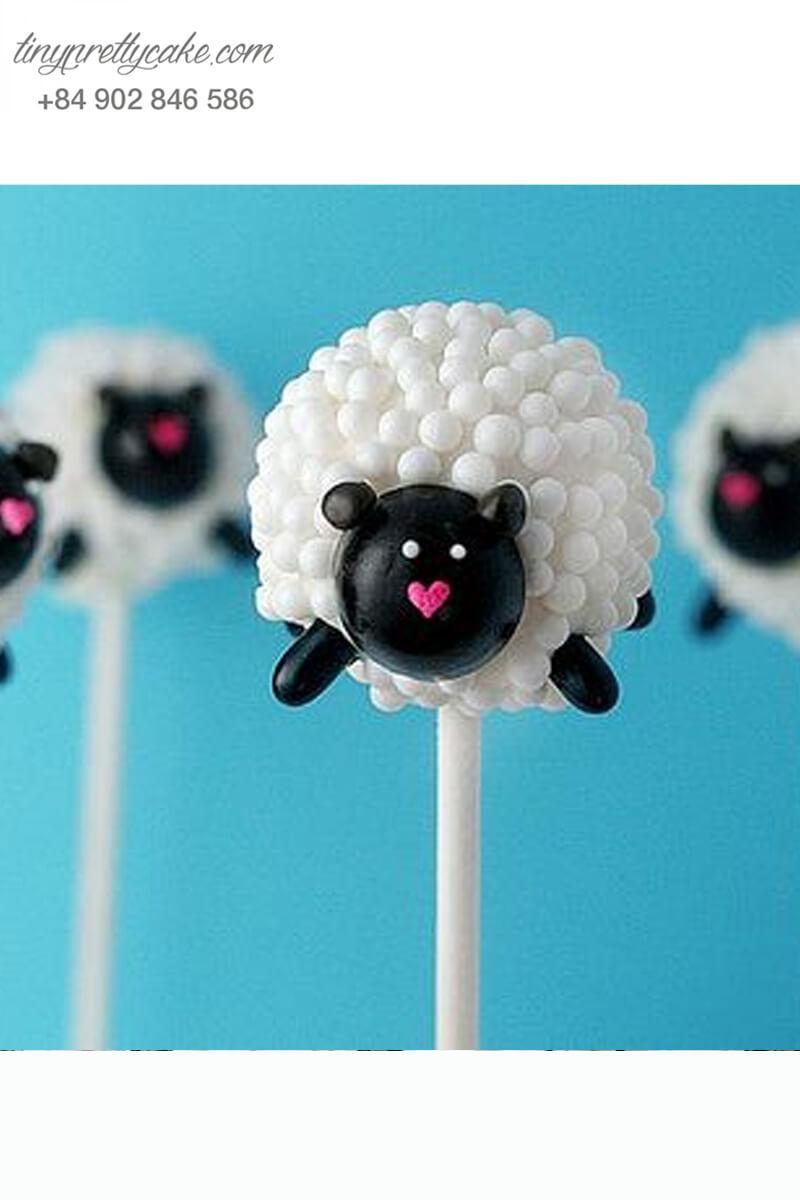 cake pop chú cừu đáng yêu