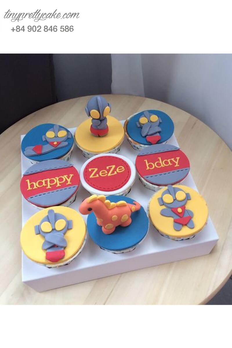 Set 9 Cupcake siêu nhân và khủng long mừng sinh nhật các bé trai