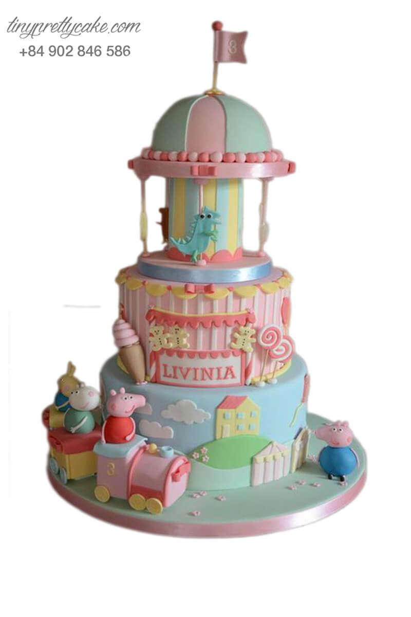 bánh sinh nhật heo Peppa và lâu đài