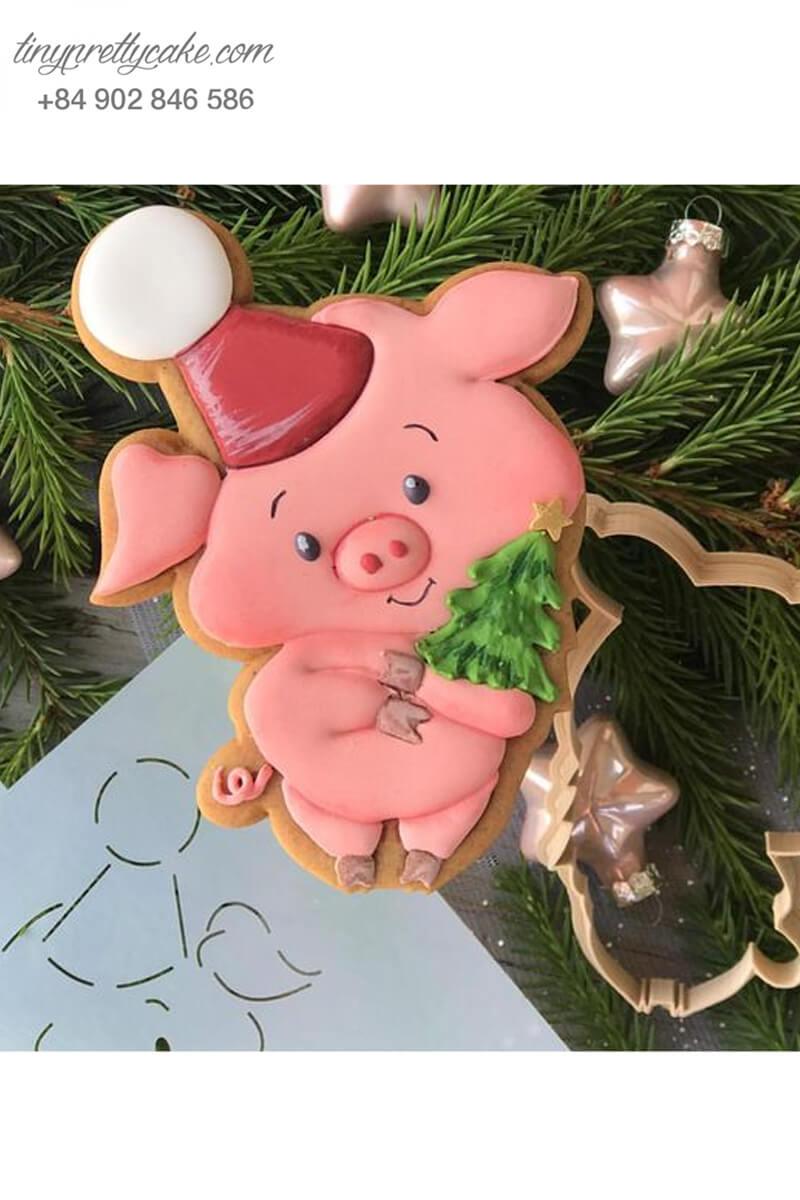 Cookie hình béo heo cùng cây thông - mừng sinh nhật, đầy tháng hoặc quà tặng cho các bé nhân dịp lễ Noel