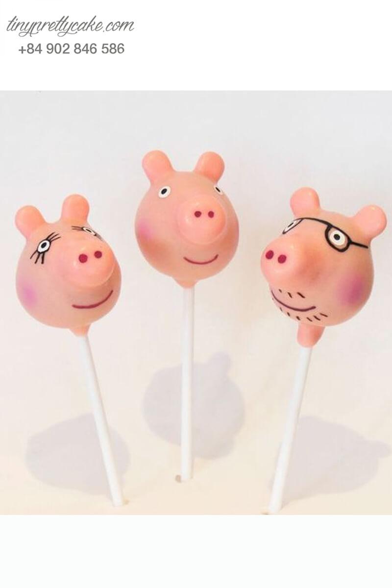 cakepop tạo hình gia đình heo peppa
