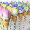 cake pop tạo hình cây kem sắc màu