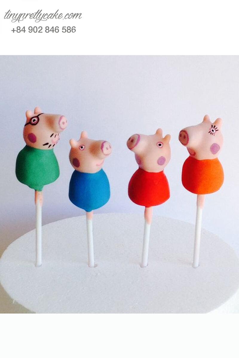 Cake pop hình đại gia đình heo peppa