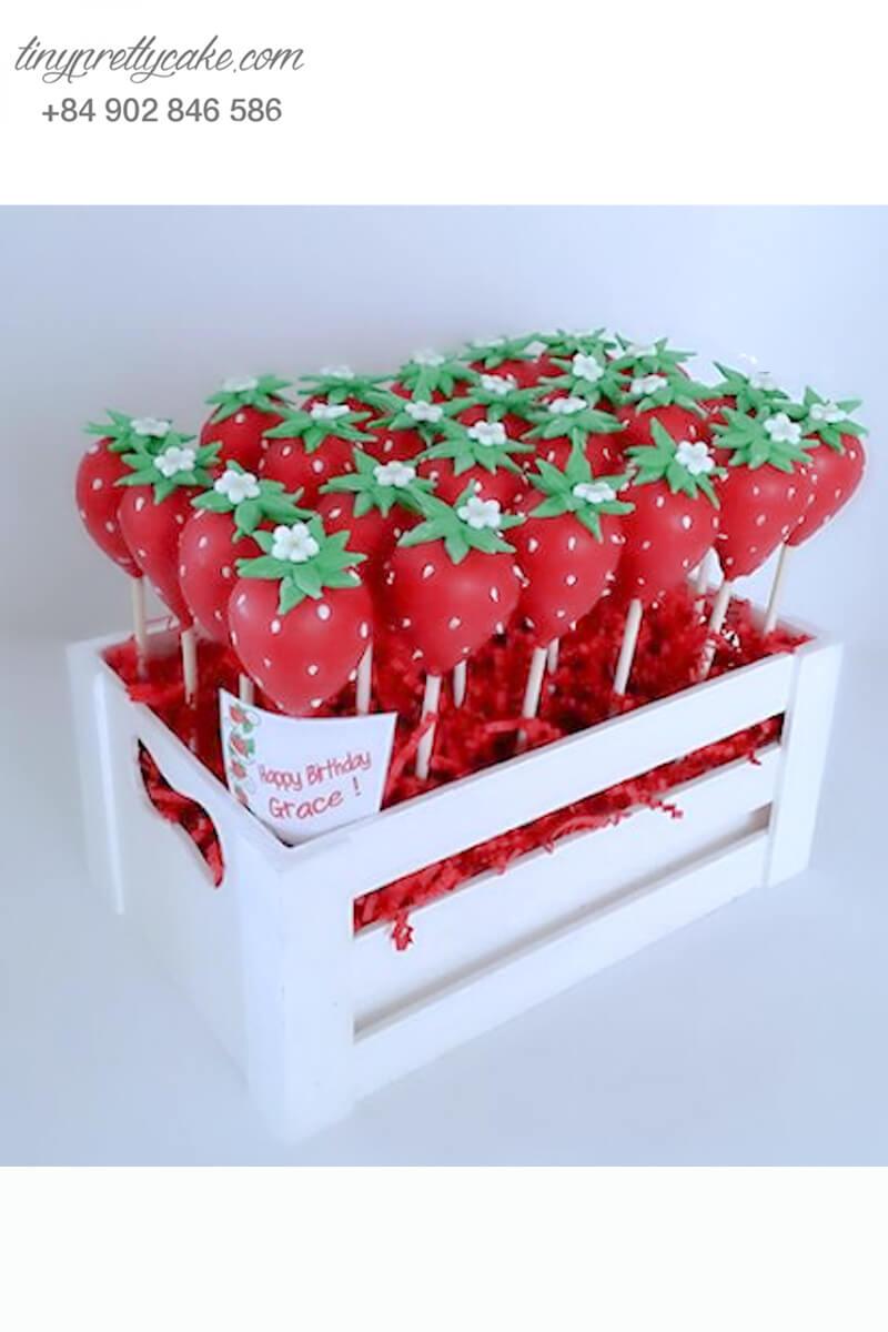 cake pop vườn dâu ngọt ngào